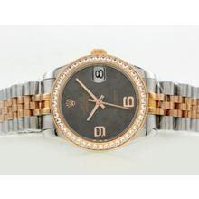 Replique Rolex Datejust Swiss ETA 2836 Mouvement lunette sertie de diamants Deux Tone avec cadran gris Motif Floral - Attractive montre Rolex DateJust pour vous 20897