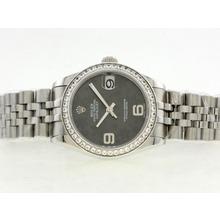 Replique Rolex Datejust Swiss ETA 2836 Mouvement avec lunette sertie de diamants Cadran Gris Motif Floral - Attractive montre Rolex DateJust pour vous 20895