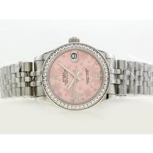 Replique Rolex Datejust Swiss ETA 2836 Mouvement avec lunette sertie de diamants Cadran Motif floral rose - Attractive montre Rolex DateJust pour vous 20893