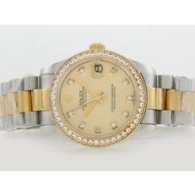 Replique Rolex Datejust Swiss ETA 2836 Mouvement Deux Tons Lunette Diamant Marquage et avec cadran doré - Attractive montre Rolex DateJust pour vous 20848