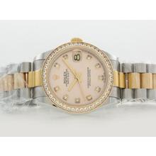 Replique Rolex Datejust Swiss ETA 2836 Mouvement Deux Tons Lunette Diamant Marquage et avec cadran rose - Attractive montre Rolex DateJust pour vous 20847