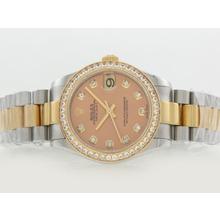 Replique Rolex Datejust Swiss ETA 2836 Mouvement Deux Tons Lunette Diamant Marquage et avec cadran champagne - Attractive montre Rolex DateJust pour vous 20846