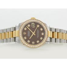 Replique Rolex Datejust Swiss ETA 2836 Mouvement deux diamants ton marquage et lunette avec cadran brun - Attractive montre Rolex DateJust pour vous 20845