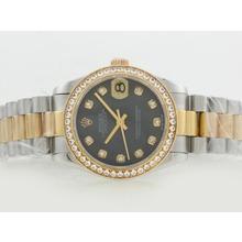 Replique Rolex Datejust Swiss ETA 2836 Mouvement deux diamants ton marquage et lunette avec cadran gris MOP - Attractive montre Rolex DateJust pour vous 20844