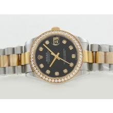 Replique Rolex Datejust Swiss ETA 2836 Mouvement Deux Tons Lunette Diamant Marquage et avec cadran noir - Attractive montre Rolex DateJust pour vous 20843