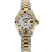 Replique Rolex Datejust Swiss ETA 2836 Mouvement deux tons avec lunette sertie de diamants Cadran Blanc Marquage-Blue Diamond - Attractive montre Rolex DateJust pour vous 20842