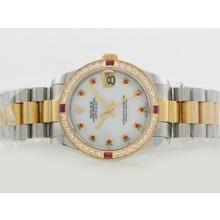 Replique Rolex Datejust Swiss ETA 2836 Mouvement lunette sertie de diamants Deux Tone avec cadran blanc-rouge Marquage Diamant - Attractive montre Rolex DateJust pour vous 20841