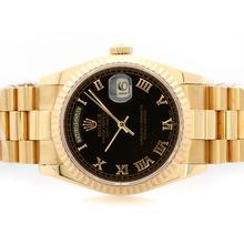 Replique Rolex Day-Date Swiss ETA 2836 Mouvement d'or complète avec cadran noir-romaine de marquage - Attractive montre Rolex Day Date 22381 pour vous