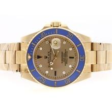 Replique Rolex Submariner automatique en or 18 carats plaqué complet avec Golden Dial-bleu lunette en céramique - Attractive montre Rolex Submariner 25170 pour vous