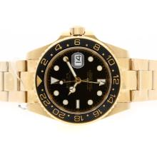 Replique Rolex GMT-Master II automatique or 18 carats plaqué complet avec cadran noir-Lunette Céramique - Attractive Rolex GMT Regarder pour vous 24358