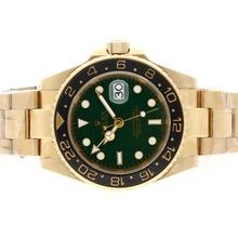 Replique Rolex GMT-Master II automatique or 18 carats plaqué complet avec cadran vert-noir lunette en céramique - Attractive Rolex GMT Regarder pour vous 24357