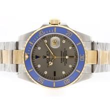 Replique Rolex Submariner automatique Two Tone 18K plaqué avec cadran gris-bleu lunette en céramique - Attractive montre Rolex Submariner 25169 pour vous