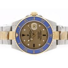 Replique Rolex Submariner automatique Two Tone 18K plaqué or avec cadran bleu-lunette en céramique - Attractive montre Rolex Submariner 25168 pour vous