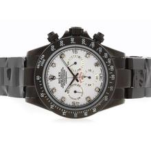 Replique Rolex Daytona Pro Hunter-Chronographe PVD complet avec cadran blanc-Diamant Marquage - Attractive Rolex Daytona Montre pour vous 23722