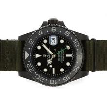 Replique Rolex GMT-Master II Asie Movment PVD affaire avec lunette en céramique-Vert Nylon Strap 01:01 Version - Attractive Rolex GMT Regarder pour vous 24352