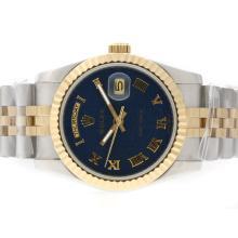 Replique Rolex Day-Date automatique Two Tone avec cadran bleu ordinateur-romaine marquage - Attractive montre Rolex Day Date 22379 pour vous