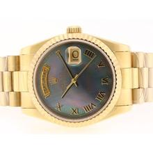 Replique Rolex Day-Date Swiss ETA 2836 Mouvement d'or complète avec cadran gris RdP-romaine Marquage - Attractive montre Rolex Day Date 22377 pour vous
