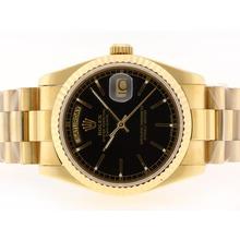 Replique Rolex Day-Date Swiss ETA 2836 Mouvement d'or complète avec cadran noir-Stick Marquage - Attractive montre Rolex Day Date 22353 pour vous