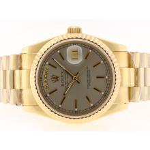 Replique Rolex Day-Date Swiss ETA 2836 Mouvement d'or complète avec cadran gris-Stick Marquage - Attractive montre Rolex Day Date 22351 pour vous