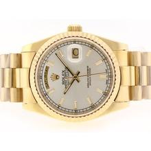 Replique Rolex Day-Date Swiss ETA 2836 Mouvement d'or complète avec cadran gris-Stick Marquage - Attractive montre Rolex Day Date 22349 pour vous