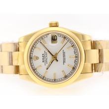 Replique Rolex Datejust Swiss ETA 2836 Mouvement d'or complète avec cadran blanc-Stick Marquage - Attractive montre Rolex DateJust pour vous 20741