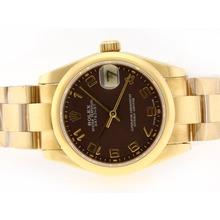 Replique Rolex Datejust Swiss ETA 2836 Mouvement d'or complète avec cadran brun-Marquage Numéro - Attractive montre Rolex DateJust pour vous 20739