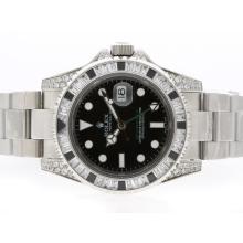 Replique Rolex GMT-Master II Swiss ETA 2836 Mouvement avec lunette sertie de diamants cz - Attractive Rolex GMT Regarder pour vous 24349