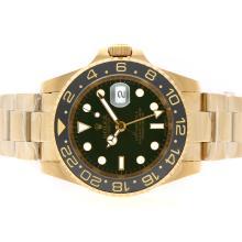 Replique Rolex GMT-Master II Swiss ETA 2836 Mouvement d'or complète avec cadran vert-noir lunette en céramique - Attractive Rolex GMT Regarder pour vous 24347
