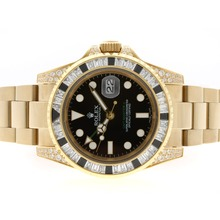 Replique Rolex GMT-Master II automatique complet Black Gold CZ Diamond Bezel avec cadran noir - Attractive Rolex GMT Regarder pour vous 24346