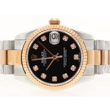 Replique Rolex Datejust Swiss ETA 2836 Mouvement deux diamants ton marquage avec cadran noir - Montre Rolex DateJust attrayant pour vous 20721