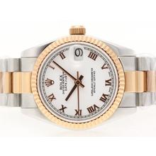 Replique Rolex Datejust Swiss ETA 2836 Mouvement Two Tone romaine de marquage avec cadran blanc - Montre Rolex DateJust attrayant pour vous 20720