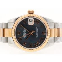 Replique Rolex Datejust Swiss ETA 2836 Mouvement Two Tone romaine de marquage avec Black MOP Dial - Attractive montre Rolex DateJust pour vous 20719