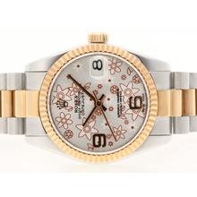 Replique Rolex Datejust Swiss ETA 2836 Mouvement avec cadran deux tons Motif Floral Argent - Montres Rolex DateJust attrayant pour vous 20718
