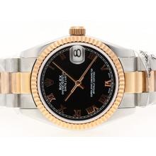 Replique Rolex Datejust Swiss ETA 2836 Mouvement Two Tone romaine de marquage avec cadran noir - Montre Rolex DateJust attrayant pour vous 20717