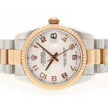 Replique Rolex Datejust Swiss ETA 2836 Mouvement Number Two Tone marquage avec cadran blanc - Montre Rolex DateJust attrayant pour vous 20716