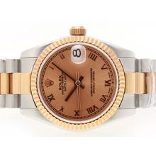 Replique Rolex Datejust Swiss ETA 2836 Mouvement Two Tone romaine de marquage avec cadran Bronze - Montre Rolex DateJust attrayant pour vous 20715