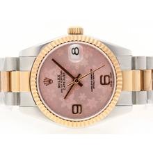 Replique Rolex Datejust Swiss ETA 2836 Mouvement avec cadran deux tons Motif floral rose - Montre Rolex DateJust attrayant pour vous 20714