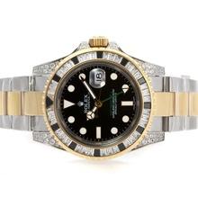Replique Rolex GMT-Master II Swiss ETA 2836 Mouvement Two Tone Noir CZ Diamond Bezel - Attractive Rolex GMT Regarder pour vous 24343