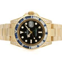 Replique Rolex GMT-Master II Swiss ETA 2836 Mouvement d'or pleine Bleu CZ Diamond Bezel - Attractive Rolex GMT Regarder pour vous 24342