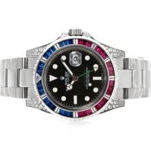 Replique Rolex GMT-Master II Swiss ETA 2836 Mouvement rouge / bleu lunette sertie de diamants cz - Attractive Rolex GMT Regarder pour vous 24341