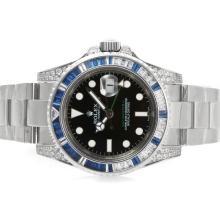 Replique Rolex GMT-Master II Swiss ETA 2836 Mouvement bleu lunette sertie de diamants cz - Attractive Rolex GMT Regarder pour vous 24340