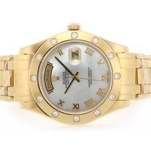 Replique Rolex Masterpiece Swiss ETA 2836 Mouvement complet Roman Gold Marquage avec MOP Dial - Attractive montre Rolex Masterpiece pour vous 24605