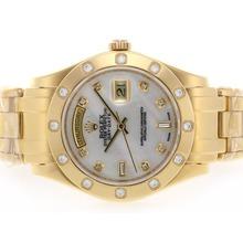 Replique Rolex Masterpiece Swiss ETA 2836 Mouvement diamant d'or pleine de marquage avec cadran MOP - Attractive montre Rolex Masterpiece pour vous 24604