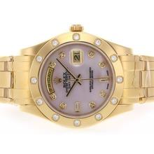 Replique Rolex Masterpiece Swiss ETA 2836 Mouvement diamant d'or pleine de marquage avec cadran rose MOP - Attractive montre Rolex Masterpiece pour vous 24603