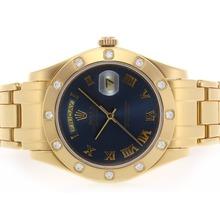 Replique Rolex Masterpiece Swiss ETA 2836 Mouvement complet Roman Gold marquage avec cadran bleu - Attractive montre Rolex Masterpiece pour vous 24602
