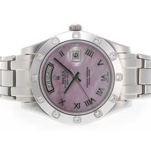 Replique Rolex Masterpiece Swiss ETA 2836 Mouvement romaine de marquage avec cadran rose MOP - Attractive montre Rolex Masterpiece pour vous 24579