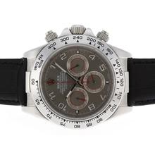 Replique Rolex Daytona marqueurs de travail Nombre chronographe avec cadran gris-bracelet en cuir Rolex Daytona - Montres attrayant pour vous 23644