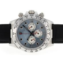 Replique Rolex Daytona Chronographe de travail index diamants avec MOP Dial-bracelet en cuir bleu - Belle Rolex Daytona Montre pour vous 23643