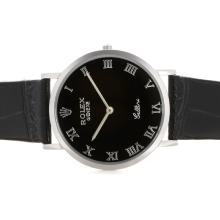 Replik Rolex Cellini Roman Markers with Black Dial and Strap 20129