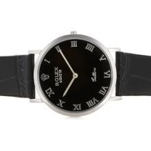 Replique Rolex Cellini marqueurs romaine avec cadran noir et bracelet 20129